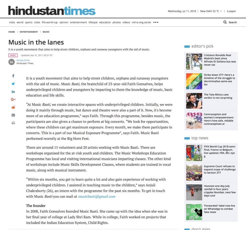 Music in the lanes – Enabling Leadership